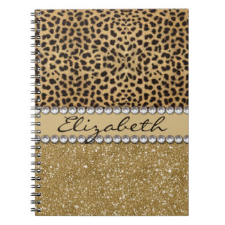 Leopard Spot Gold Glitter Rhinestone PHOTO PRINT Spiral Notebook