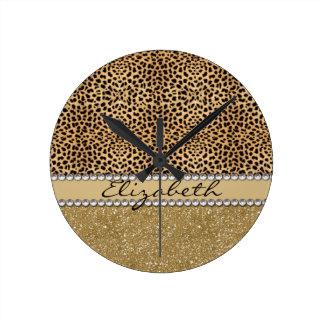 Leopard Spot Gold Glitter Rhinestone PHOTO PRINT Wallclock