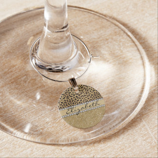 Leopard Spot Gold Glitter Rhinestone PHOTO PRINT Wine Charm