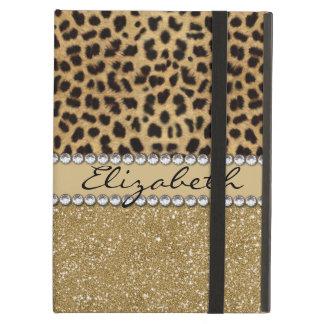 Leopard Spot Gold Glitter Rhinestone Print Pattern iPad Air Case
