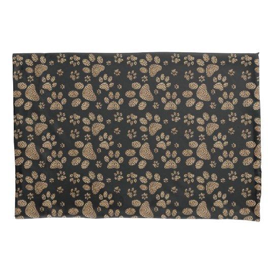 Leopard Spot Paw Prints Pillowcase
