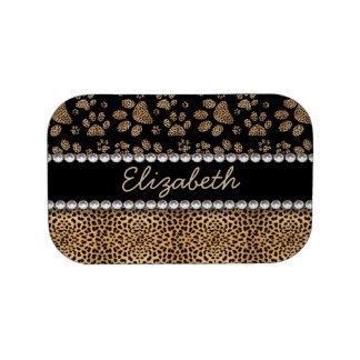Leopard Spot Paw Prints Rhinestone PHOTO PRINT Lunch Box