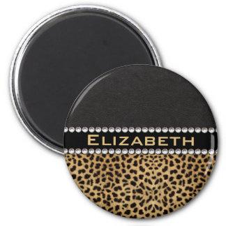 Leopard Spot Rhinestone Diamonds Monogram PHOTO 6 Cm Round Magnet