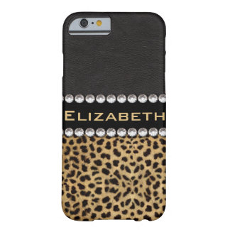Leopard Spot Rhinestone Diamonds Monogram PHOTO Barely There iPhone 6 Case