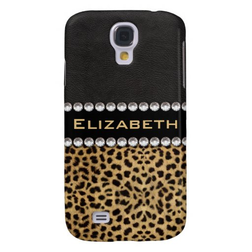 Leopard Spot Rhinestone Diamonds Monogram PHOTO Galaxy S4 Case