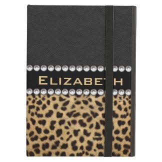 Leopard Spot Rhinestone Diamonds Monogram PHOTO Case For iPad Air