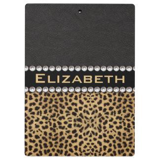 Leopard Spot Rhinestone Diamonds Monogram PHOTO Clipboard