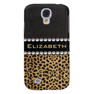 Leopard Spot Rhinestone Diamonds Monogram PHOTO Galaxy S4 Case