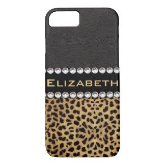 Leopard Spot Rhinestone Diamonds Monogram PHOTO iPhone 8/7 Case