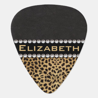 Leopard Spot Rhinestone Diamonds Monogram PHOTO Plectrum