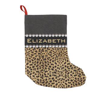 Leopard Spot Rhinestone Diamonds Monogram PHOTO Small Christmas Stocking