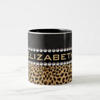 Leopard Spot Rhinestone Diamonds Monogram PHOTO Two-Tone Mug