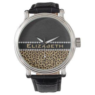 Leopard Spot Rhinestone Diamonds Monogram PHOTO Watch