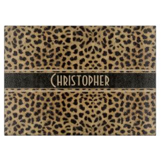 Leopard Spot Skin Print Personalized Cutting Board