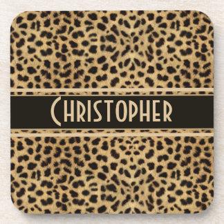 Leopard Spot Skin Print Personalized Drink Coasters