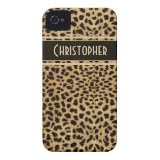 Leopard Spot Skin Print Personalized iPhone 4 Case