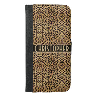 Leopard Spot Skin Print Personalized iPhone 6/6s Plus Wallet Case
