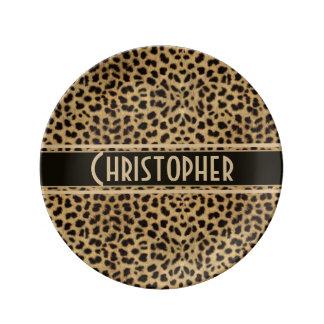 Leopard Spot Skin Print Personalized Plate