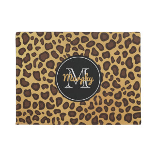 Leopard Spot Wild Animal Print Family Monogram Doormat