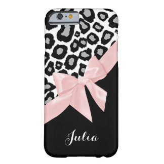 Leopard Spots and Pink Bow with Name Barely There iPhone 6 Case