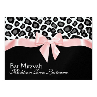 Leopard Spots and Pink Ribbon Bat Mitzvah 5x7 Paper Invitation Card