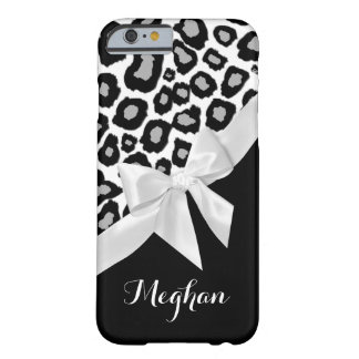 Leopard Spots and White Bow with Name Barely There iPhone 6 Case