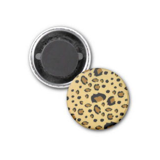 Leopard Spots Brushed Fur Texture Look 1 Inch Round Magnet