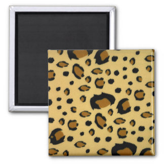 Leopard Spots Brushed Fur Texture Look 2 Inch Square Magnet