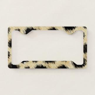 Leopard spots fur licence plate frame