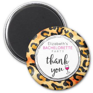 Leopard Spots Pattern Bachelorette Party Thank You 6 Cm Round Magnet