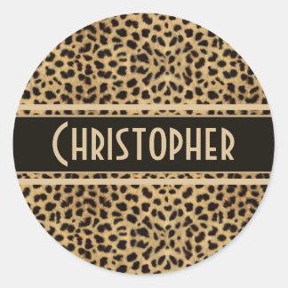 Leopard Spots Pattern Round Sticker