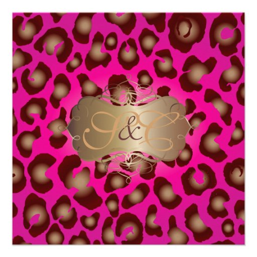 Leopard spots + pearl swirls/vintage/hot pink personalized invites