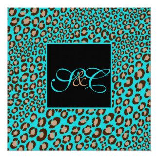 Leopard spots + pearl swirls/vintage personalized invites