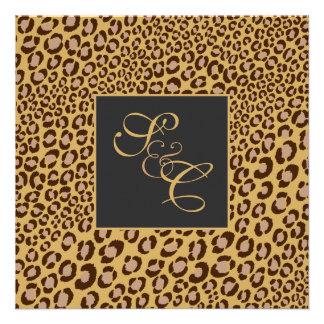 Leopard spots + pearl swirls vintage custom invites
