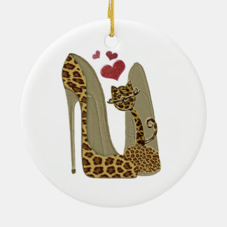 Leopard Stiletto Shoes and Cat Art Christmas Ornament