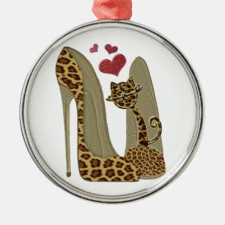 Leopard Stiletto Shoes and Cat Art Christmas Ornament