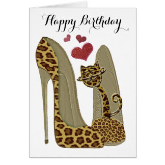 Leopard Stiletto Shoes and Cat Art Greeting Card