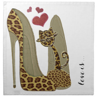 Leopard Stiletto Shoes and Cat Art Napkin