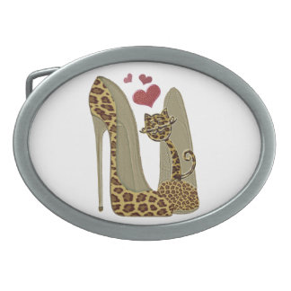 Leopard Stiletto Shoes and Cat Art Oval Belt Buckles
