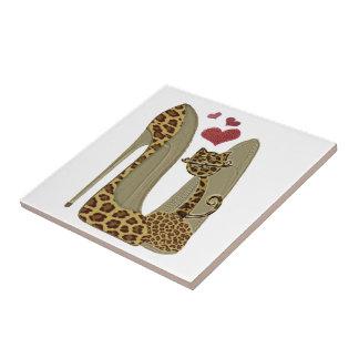 Leopard Stiletto Shoes and Cat Art Tile