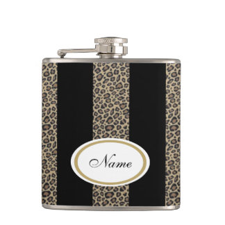 Leopard stripes elegant modern custome name black hip flask