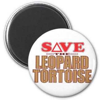 Leopard Tortoise Save 6 Cm Round Magnet