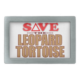Leopard Tortoise Save Rectangular Belt Buckles