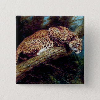 leopard wild cat animal antique painting 15 cm square badge