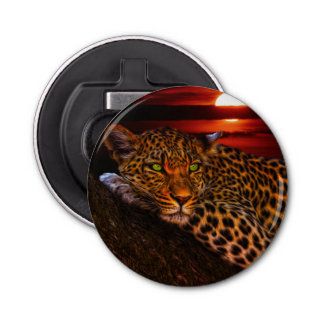 Leopard with Sunset Bottle Opener