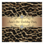 Leopard Womans 21st Birthday Party Personalised Invitations