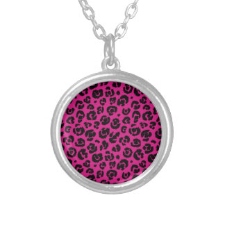 leopardpatternhotpink.png silver plated necklace