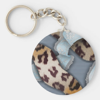 Leopards 'n Lace - blue - Basic Round Button Key Ring