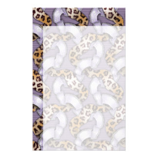 Leopards n Lace - purple - Personalized Stationery