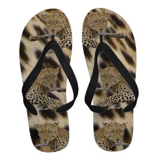 Leopards Spots Flip Flops men s